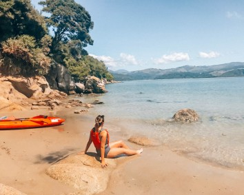 After a long kayak session, chilling on our private island